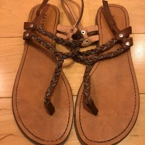 Brown Leather Flat Sandal